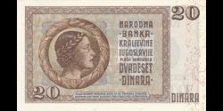 Yougoslavie - p030 - 20 Dinara - 6.9.1936 - Narodna Banka Kraljevine Jugoslavije