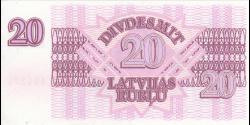 Lettonie - p39 - 20Latvijas Rubļu - 1992 - Latvijas Bankas