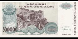 Croatie - pR26 - 500.000.000 Dinara - 1993 - Narodna Banka Republike Srpske Krajin