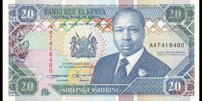 Kenya - p31a - 20 shilingi - 14.9.1993 - Banki Kuu ya Kenya / Central Bank of Kenya