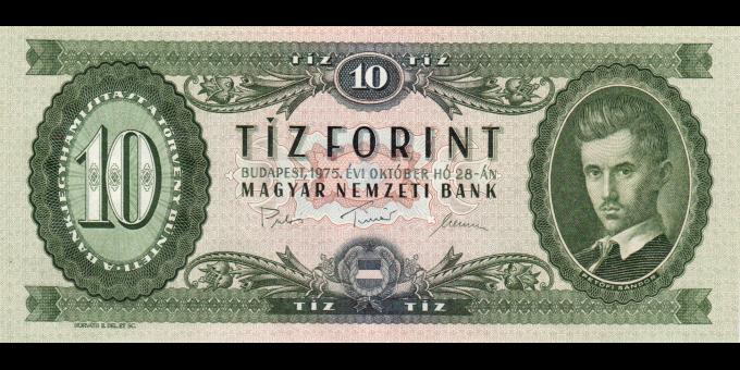 Hongrie - p168e - 10 Forint - 28.10.1975 - Magyar Nemzeti Bank