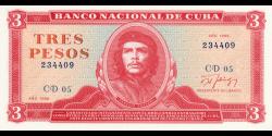 Cuba - p107b1 - 3 Pesos - 1988 - Banco Nacional de Cuba