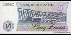 Zaire - p26A - 5 Zaïres - 24.11.1985 - Banque du Zaïre