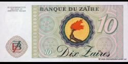 Zaire - p27A - 10 Zaïres - 27.10.1985 - Banque du Zaïre