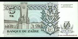 Zaire - p48 - 5 Nouveaux Zaïres - 24.06.1993 - Banque du Zaïre