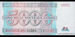 Zaire - p69 - 5.000 Nouveaux Zaïres - 30.01.1995 - Banque du Zaïre
